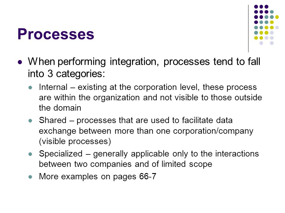 Processes When performing integration, processes tend to fall into 3 categories: