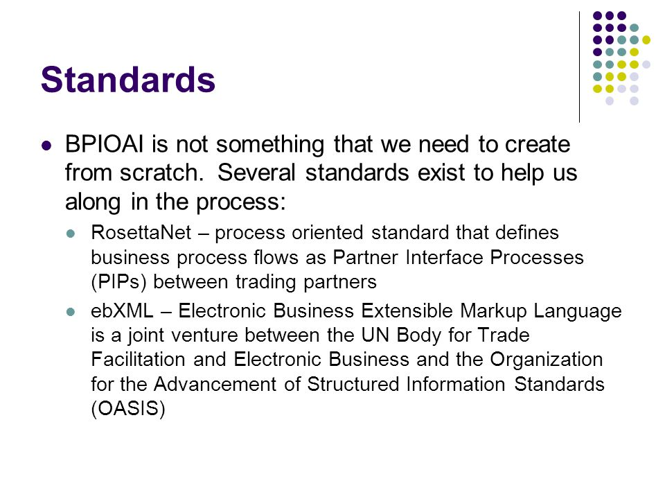 Standards BPIOAI is not something that we need to create from scratch. Several standards exist to help us along in the process: