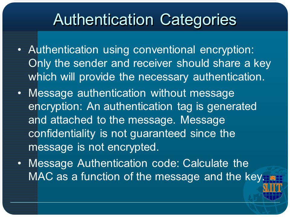 Authentication Categories