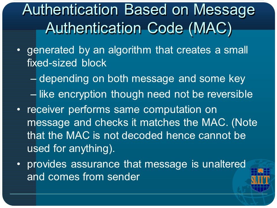 Authentication Based on Message Authentication Code (MAC)