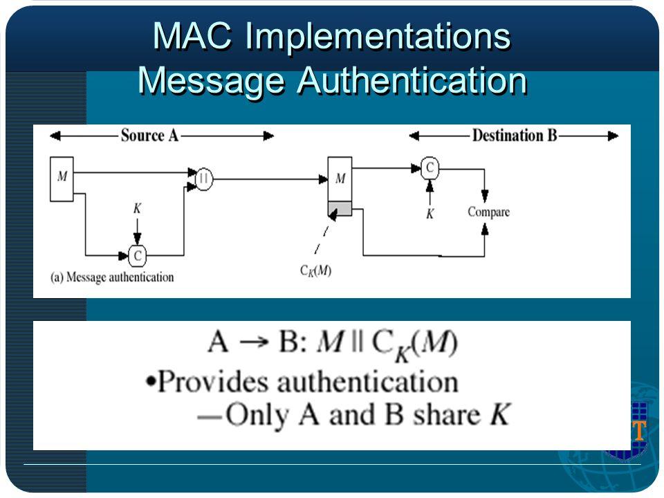 MAC Implementations Message Authentication