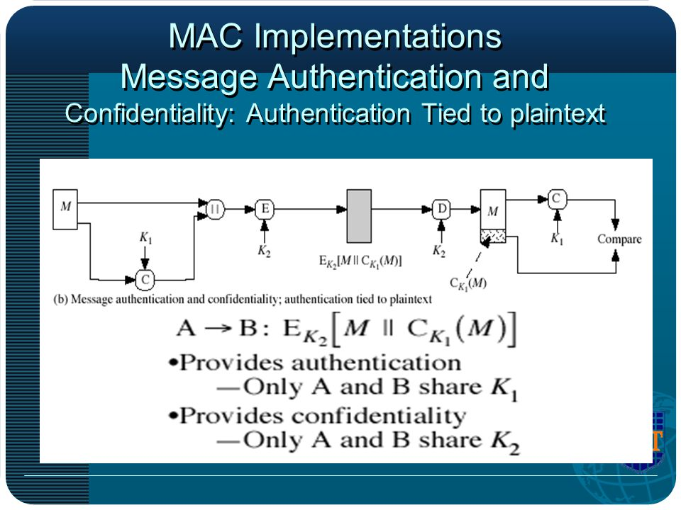 MAC Implementations Message Authentication and Confidentiality: Authentication Tied to plaintext
