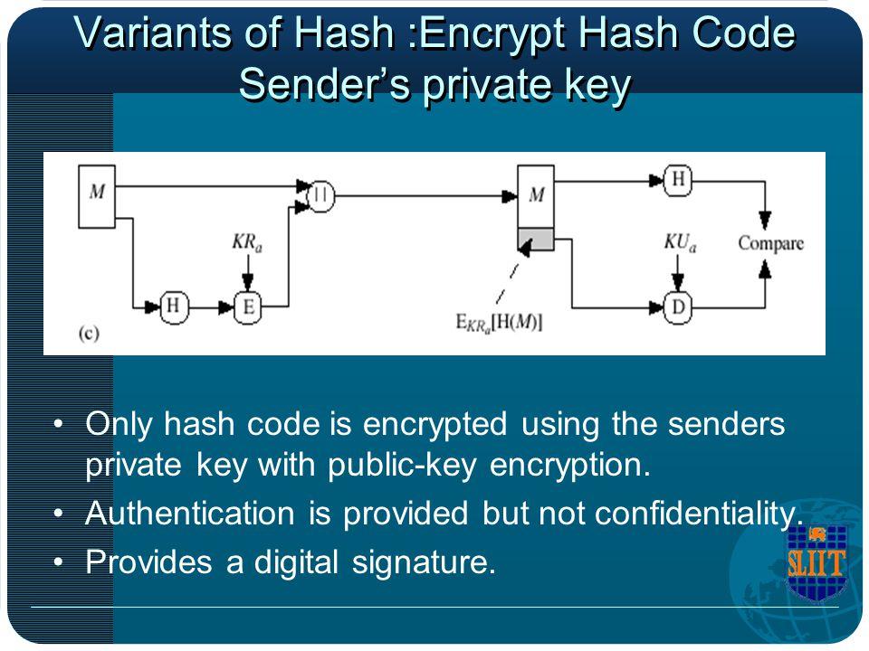Variants of Hash :Encrypt Hash Code Sender's private key