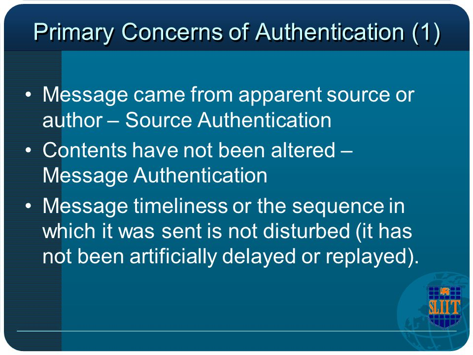 Primary Concerns of Authentication (1)
