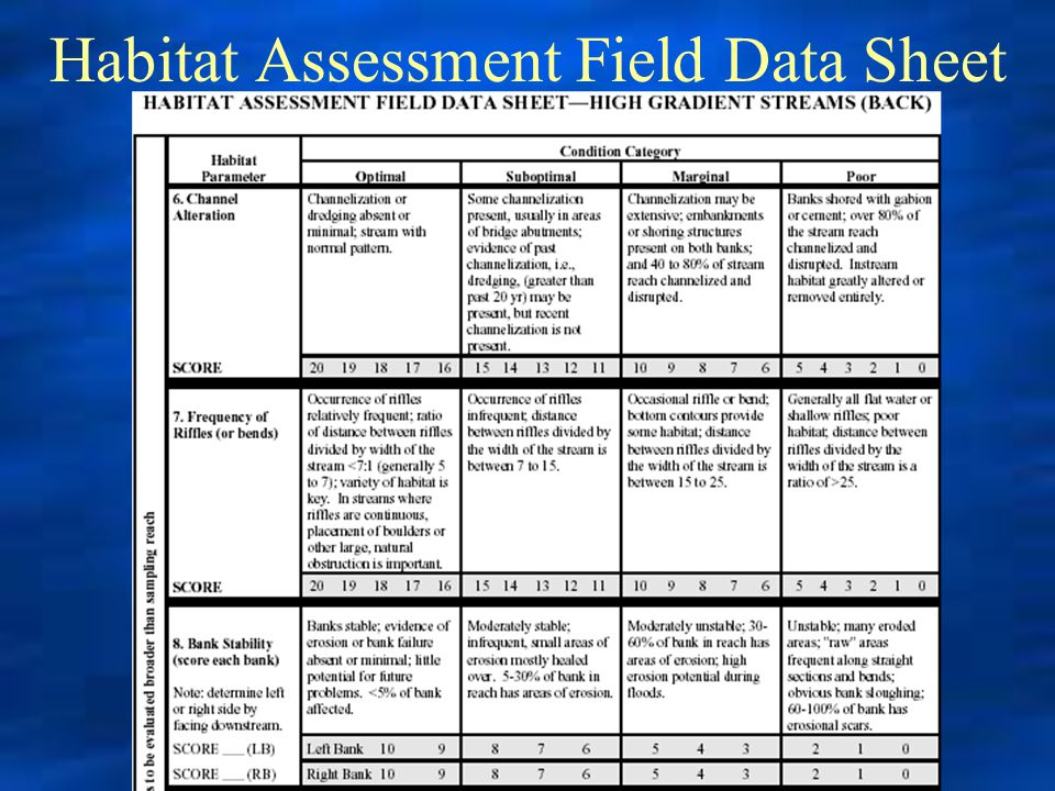 Habitat Assessment Field Data Sheet