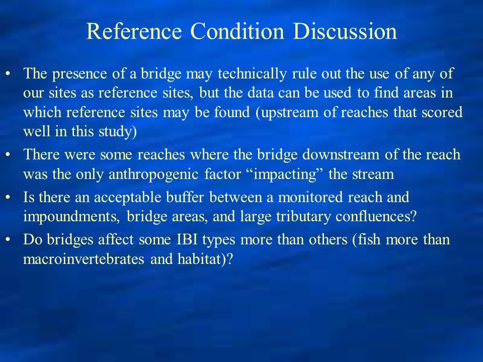 Reference Condition Discussion