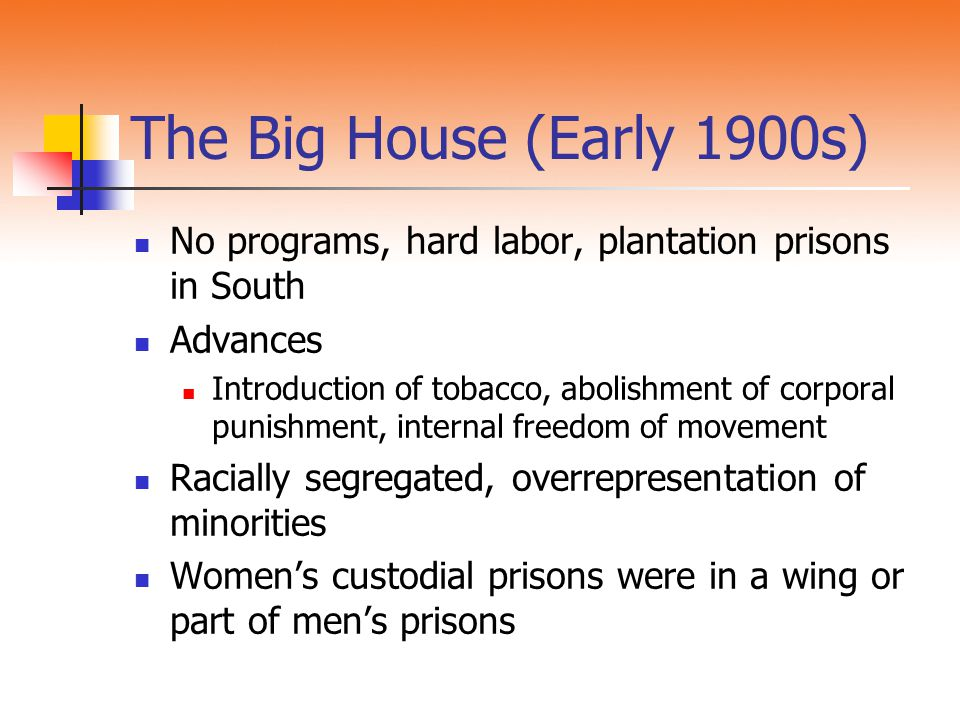 The Big House (Early 1900s) No programs, hard labor, plantation prisons in South. Advances.