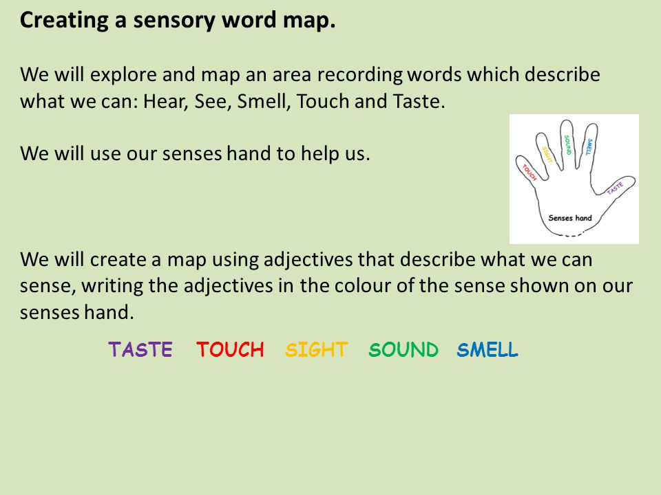 Creating a sensory word map.