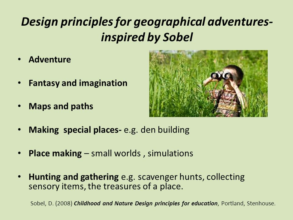 Design principles for geographical adventures- inspired by Sobel