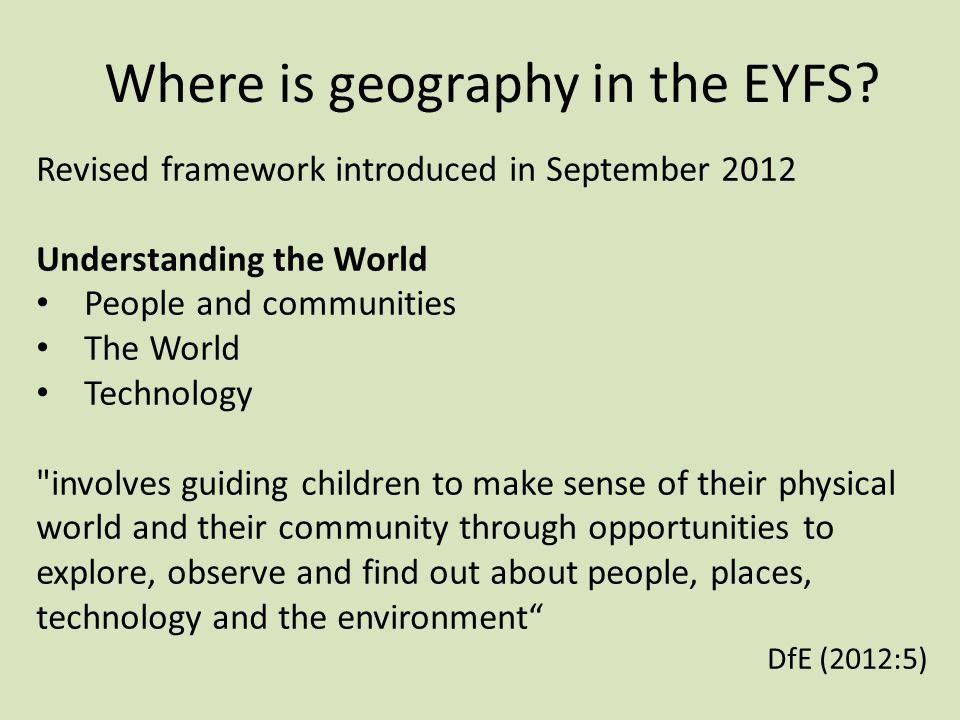 Where is geography in the EYFS