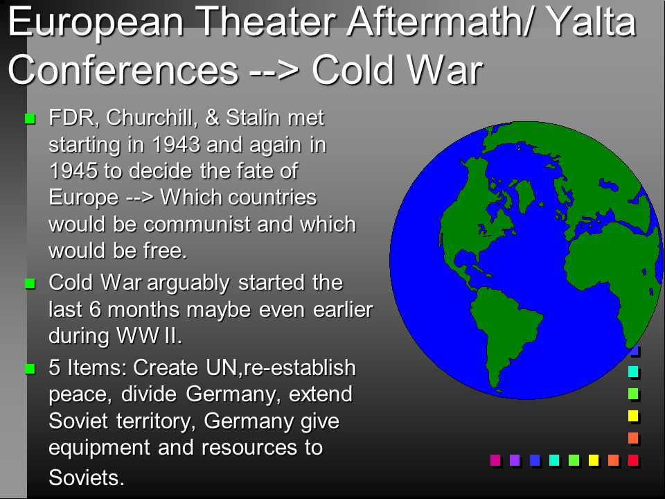 European Theater Aftermath/ Yalta Conferences --> Cold War