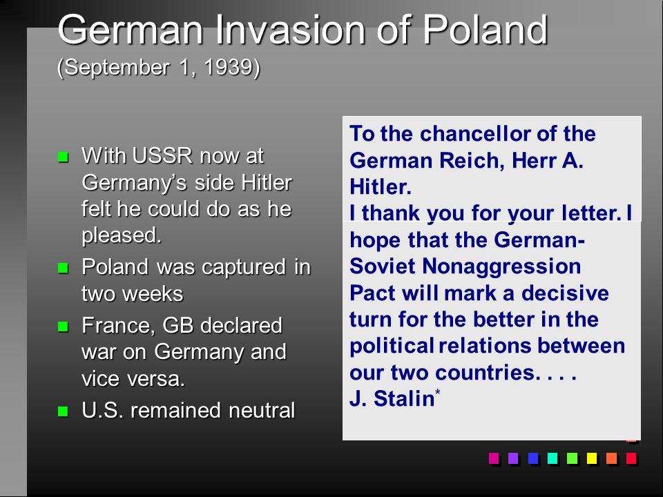 German Invasion of Poland (September 1, 1939)