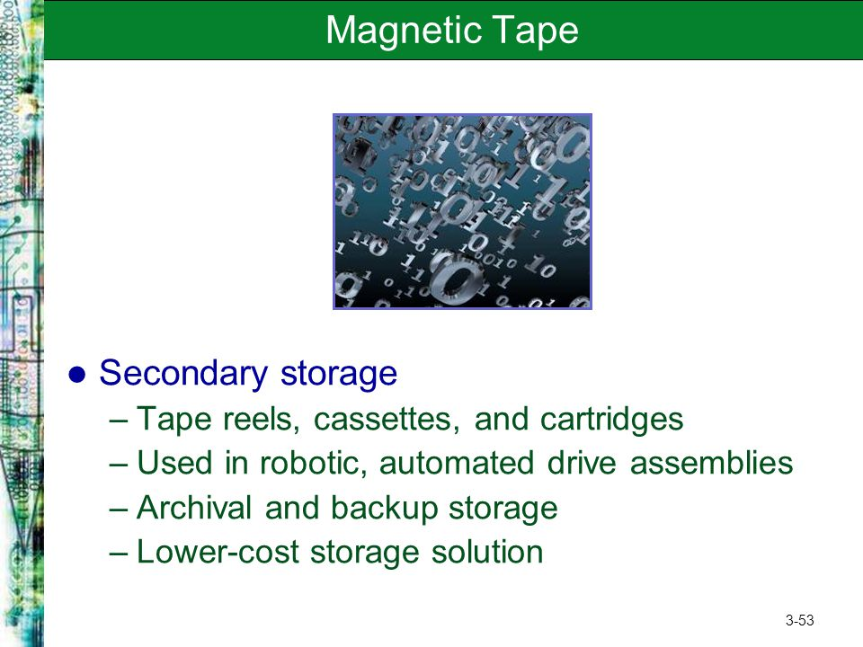 Magnetic Tape Secondary storage Tape reels, cassettes, and cartridges