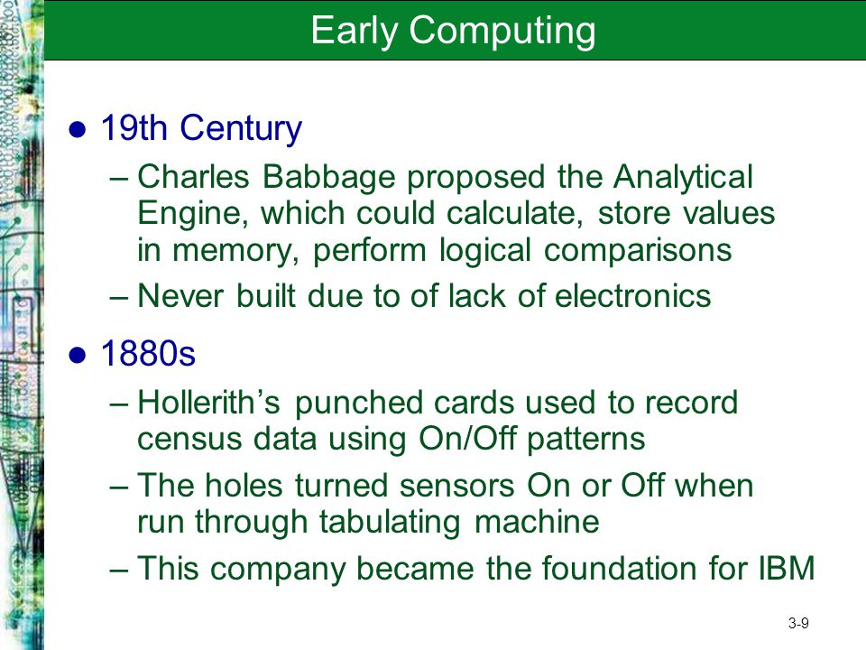 Early Computing 19th Century 1880s