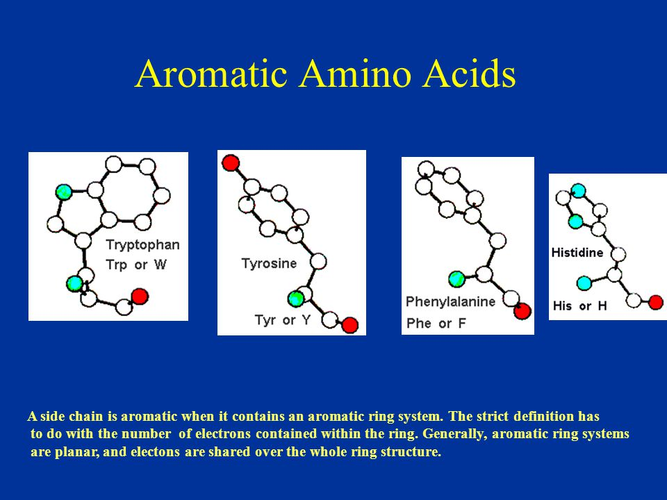 Aromatic Amino Acids A side chain is aromatic when it contains an aromatic ring system. The strict definition has.