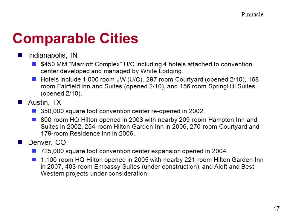 Comparable Cities Indianapolis, IN Austin, TX Denver, CO Pinnacle