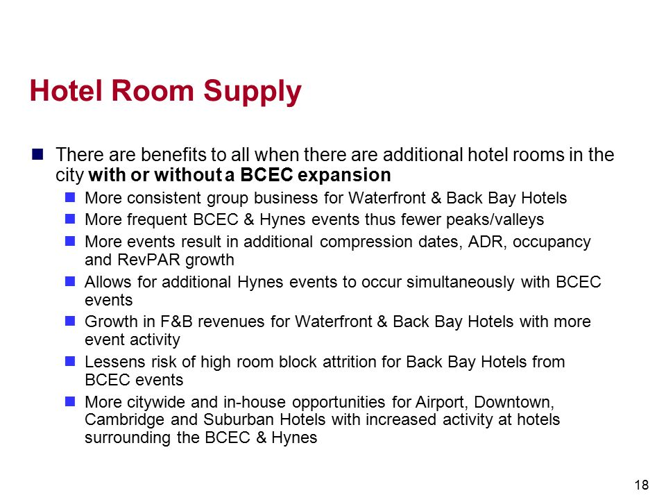 Hotel Room Supply There are benefits to all when there are additional hotel rooms in the city with or without a BCEC expansion.