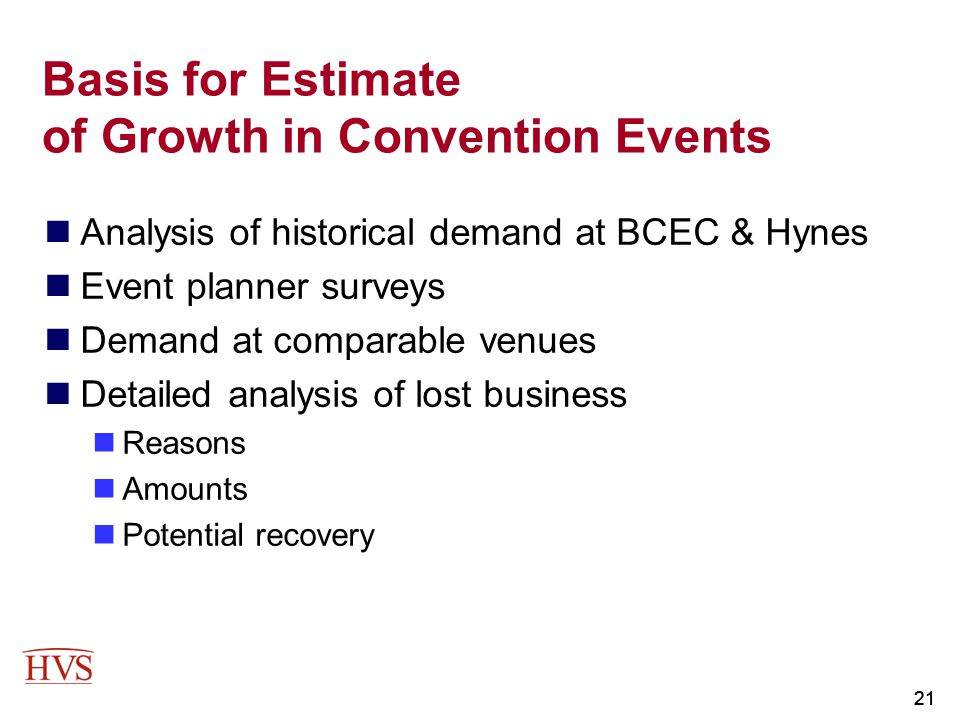 Basis for Estimate of Growth in Convention Events