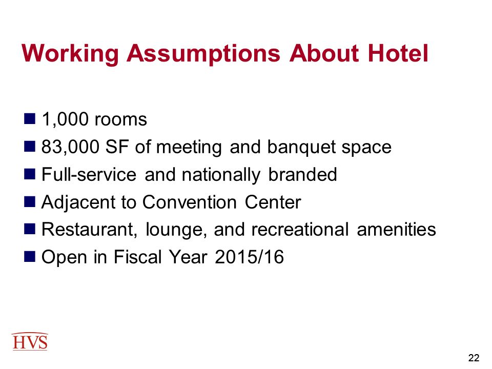 Working Assumptions About Hotel