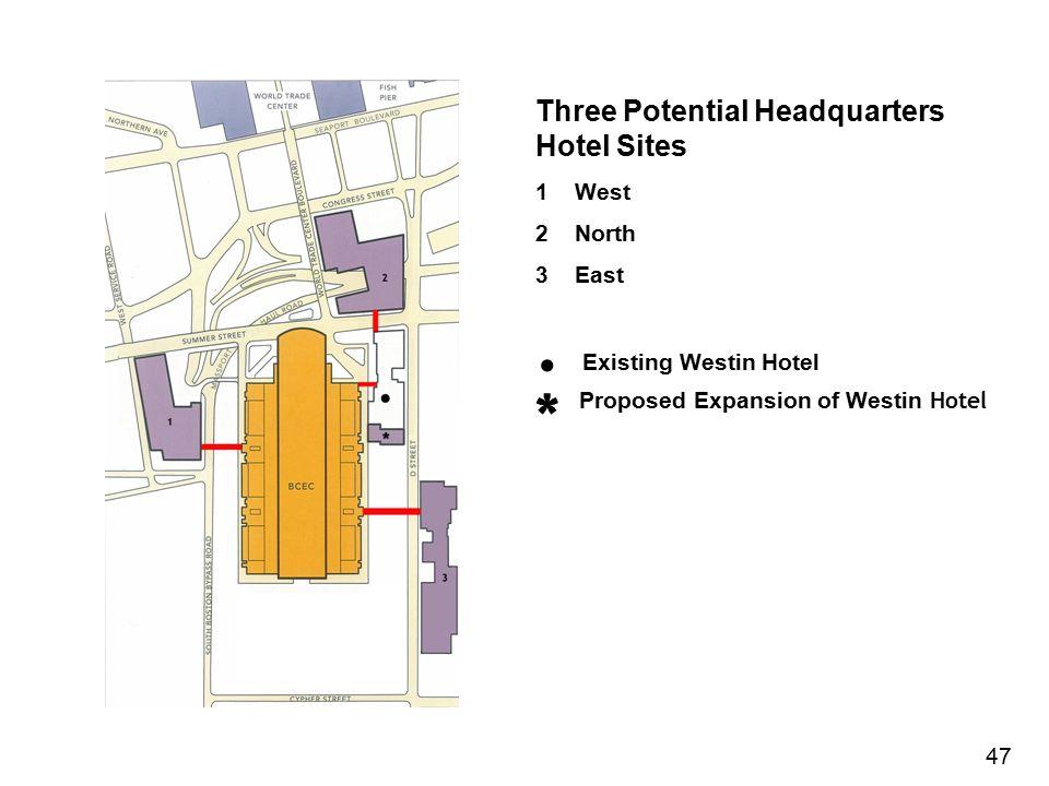 . Existing Westin Hotel * Three Potential Headquarters Hotel Sites