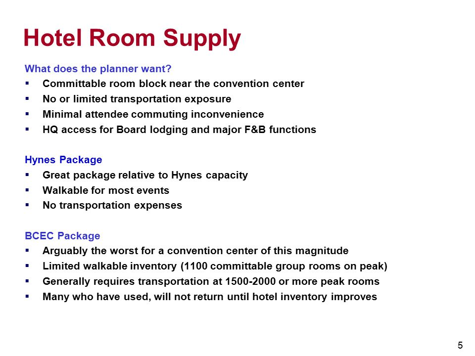 Hotel Room Supply What does the planner want