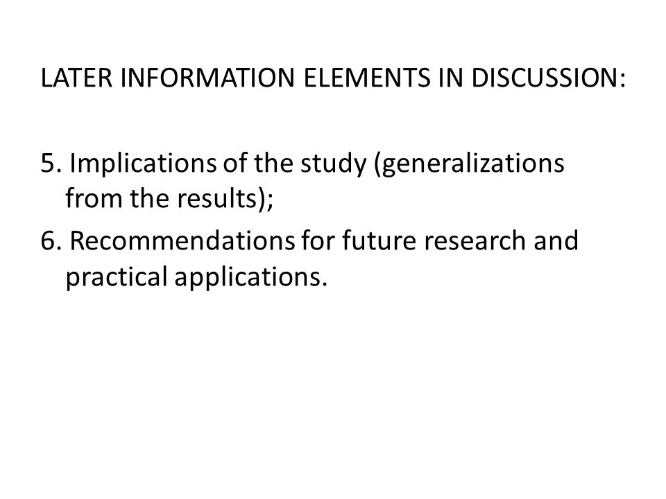 LATER INFORMATION ELEMENTS IN DISCUSSION: 5