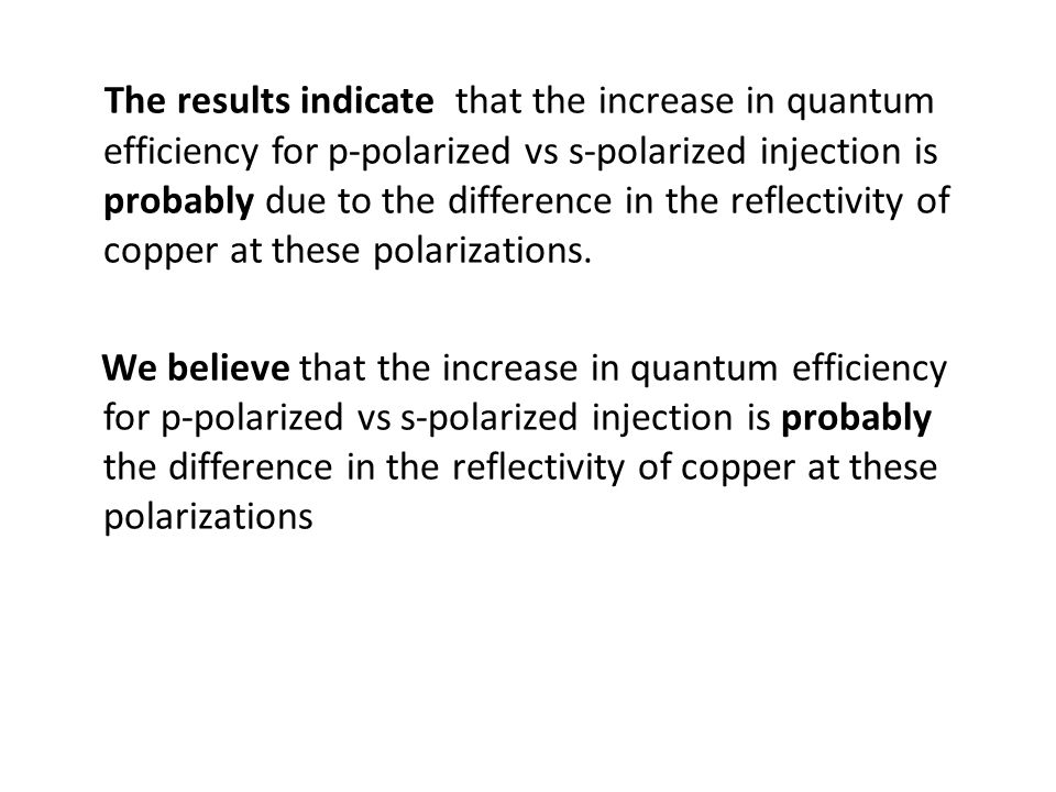The results indicate that the increase in quantum efficiency for p-polarized vs s-polarized injection is probably due to the difference in the reflectivity of copper at these polarizations.