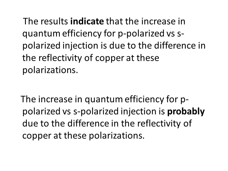 The results indicate that the increase in quantum efficiency for p-polarized vs s-polarized injection is due to the difference in the reflectivity of copper at these polarizations.