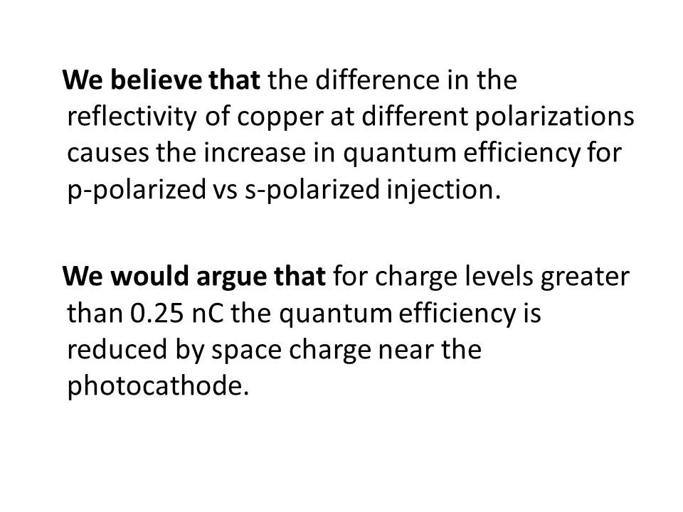 We believe that the difference in the reflectivity of copper at different polarizations causes the increase in quantum efficiency for p-polarized vs s-polarized injection.