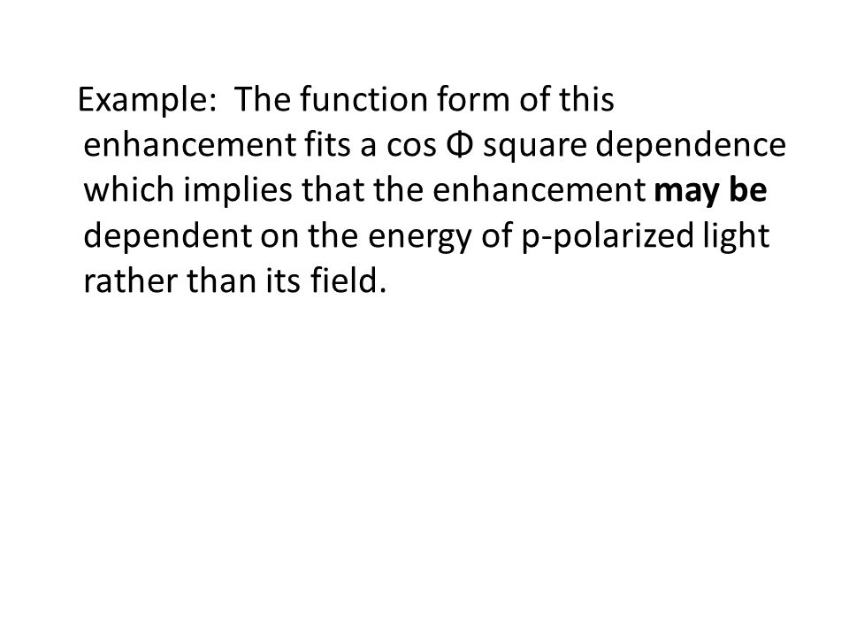 Example: The function form of this enhancement fits a cos Φ square dependence which implies that the enhancement may be dependent on the energy of p-polarized light rather than its field.