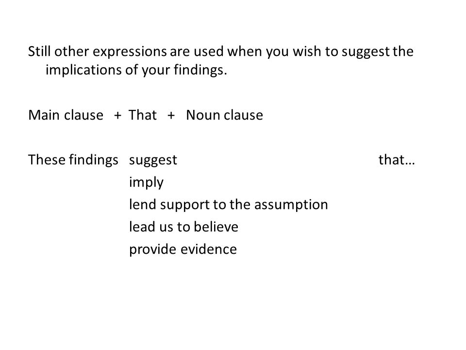 Still other expressions are used when you wish to suggest the implications of your findings.