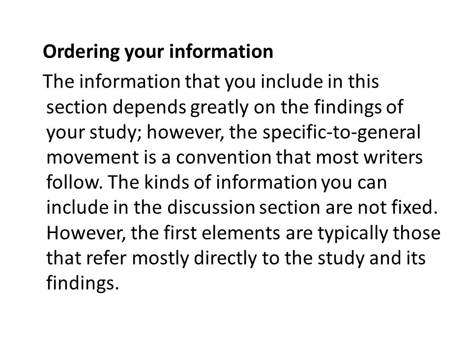 Ordering your information
