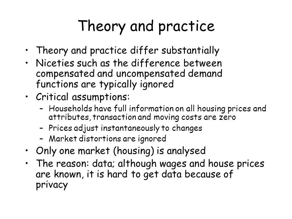 Theory and practice Theory and practice differ substantially