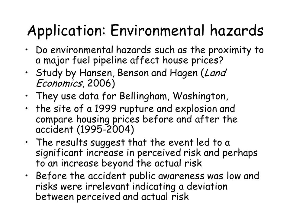 Application: Environmental hazards