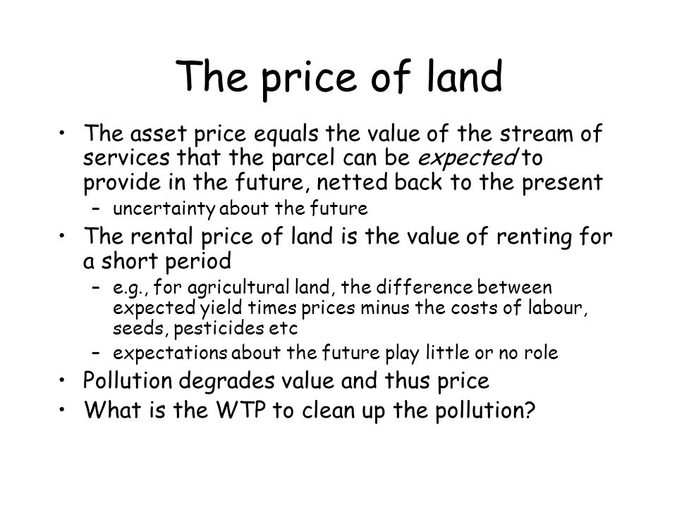 The price of land