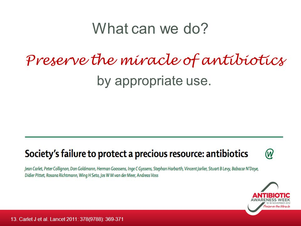 Preserve the miracle of antibiotics by appropriate use.