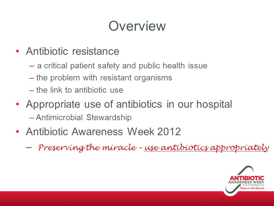 Overview Antibiotic resistance