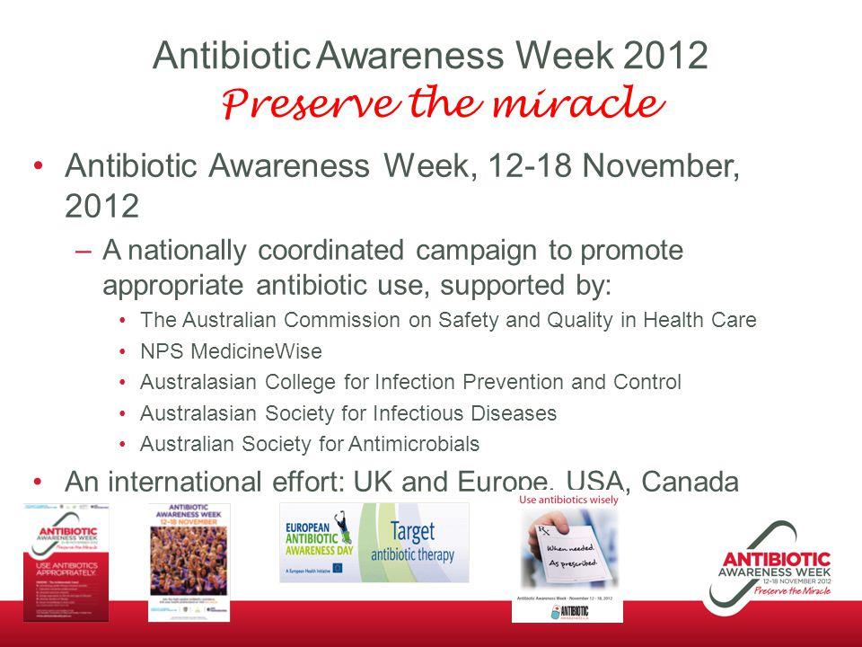Antibiotic Awareness Week 2012 Preserve the miracle