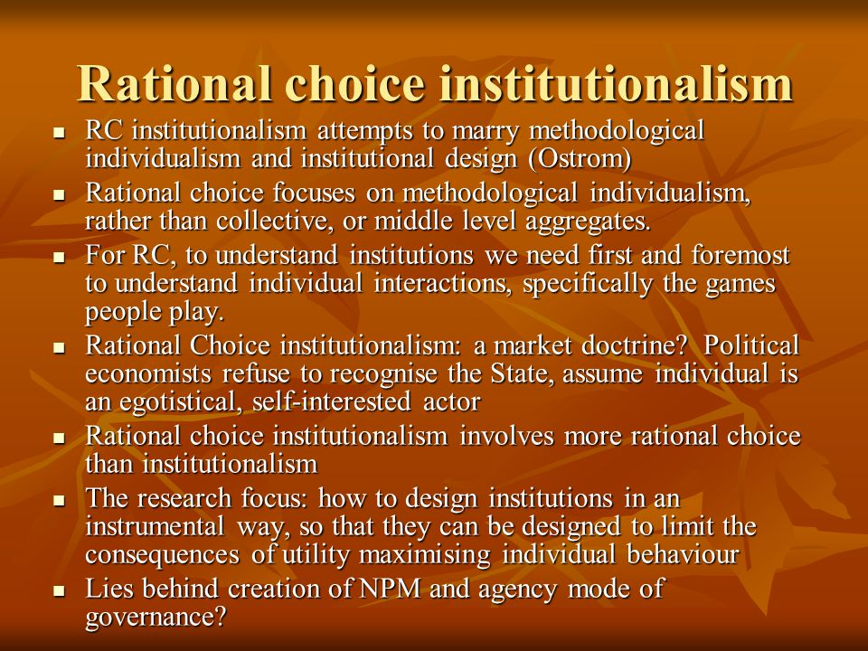 Rational choice institutionalism