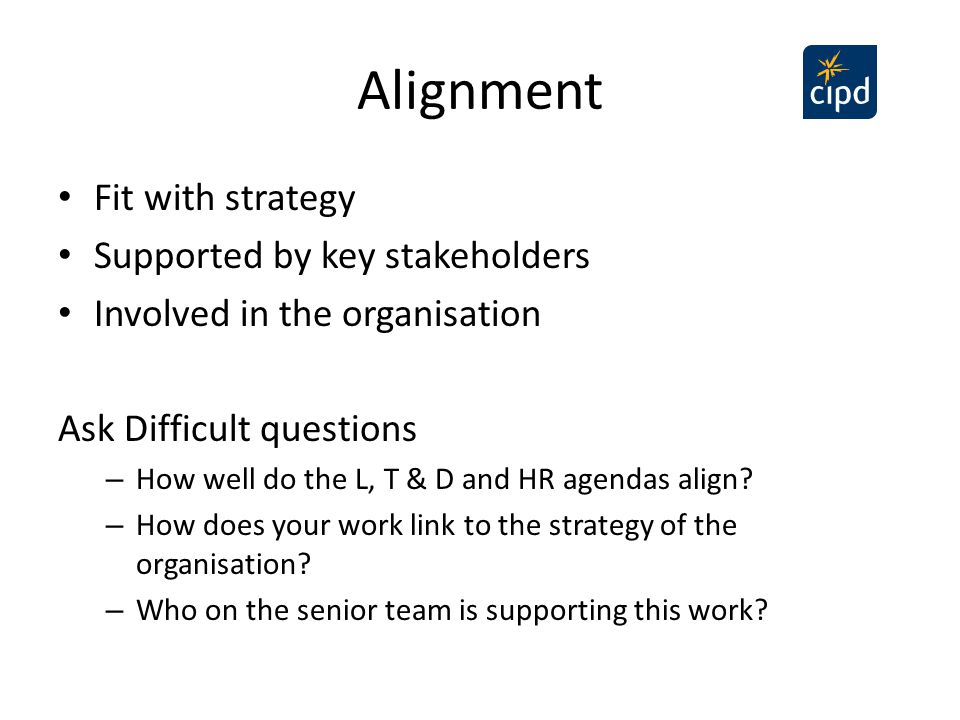 Alignment Fit with strategy Supported by key stakeholders