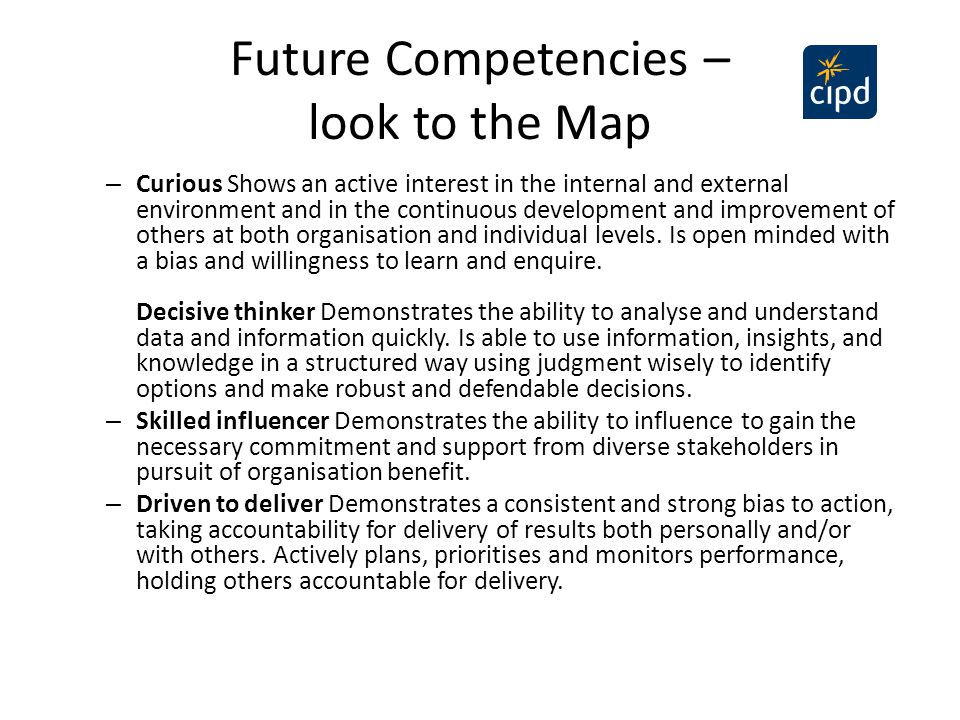 Future Competencies – look to the Map