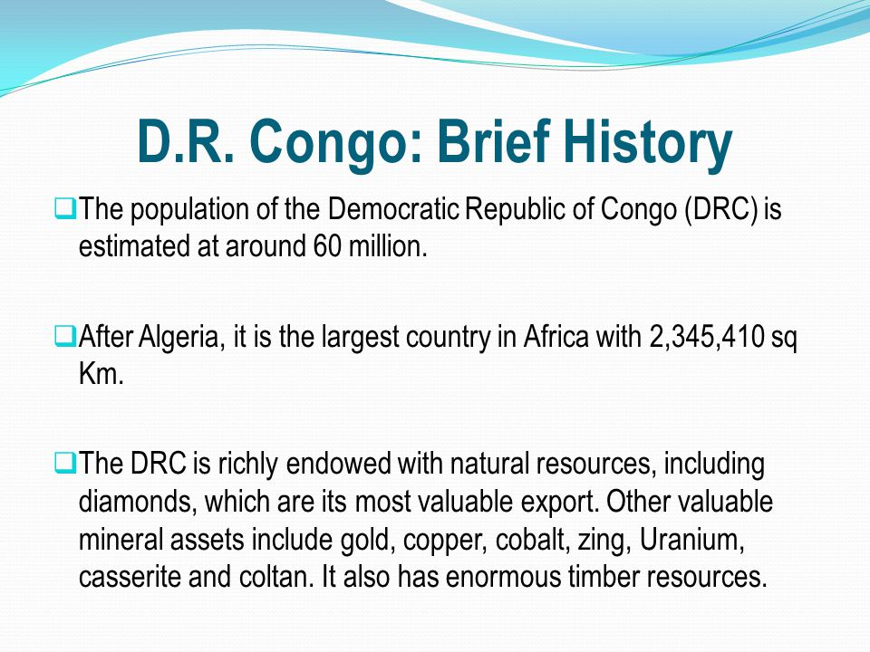 D.R. Congo: Brief History