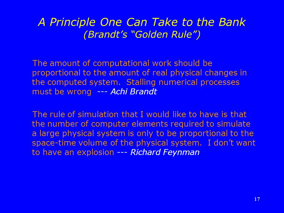 A Principle One Can Take to the Bank (Brandt's Golden Rule )