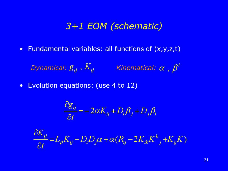 3+1 EOM (schematic) Fundamental variables: all functions of (x,y,z,t)
