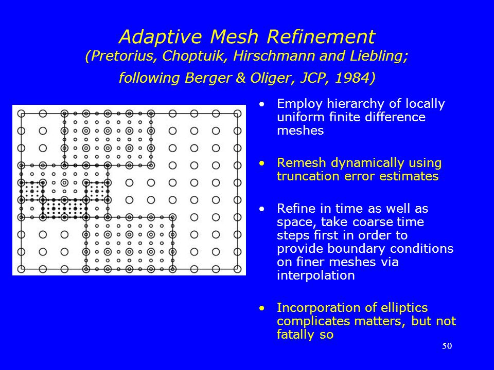 Adaptive Mesh Refinement (Pretorius, Choptuik, Hirschmann and Liebling; following Berger & Oliger, JCP, 1984)
