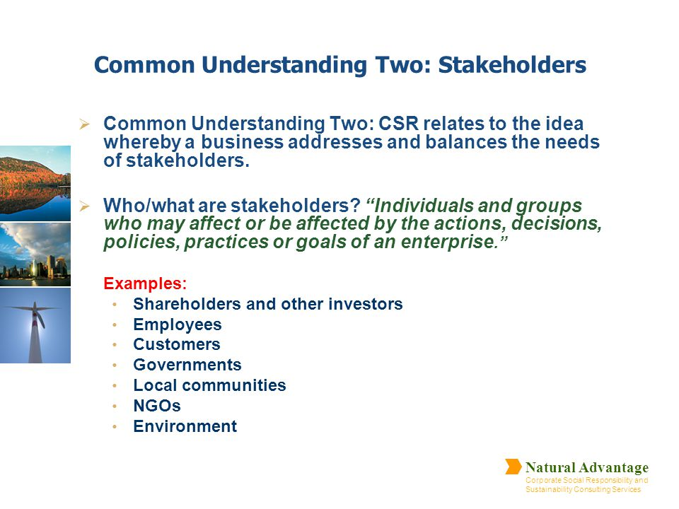 Common Understanding Two: Stakeholders