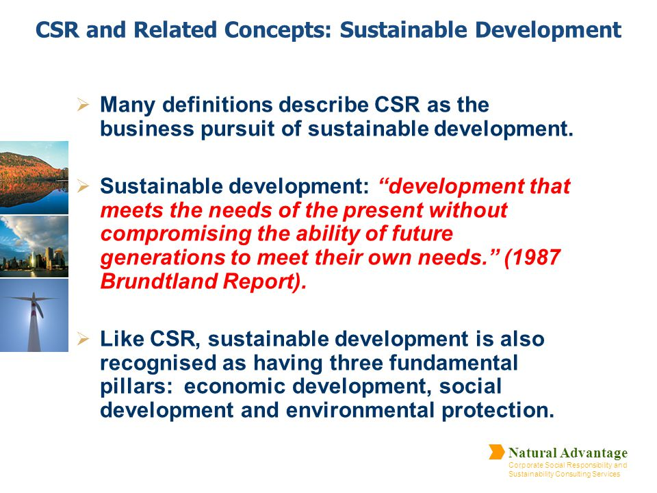 CSR and Related Concepts: Sustainable Development