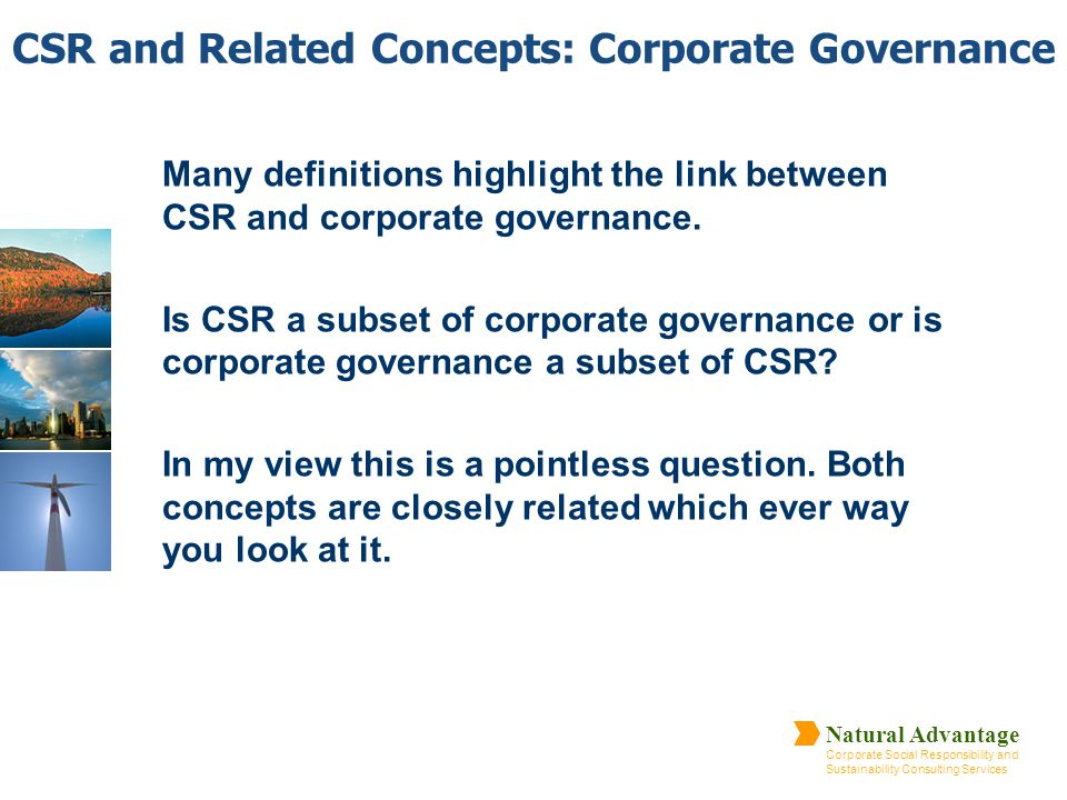 CSR and Related Concepts: Corporate Governance