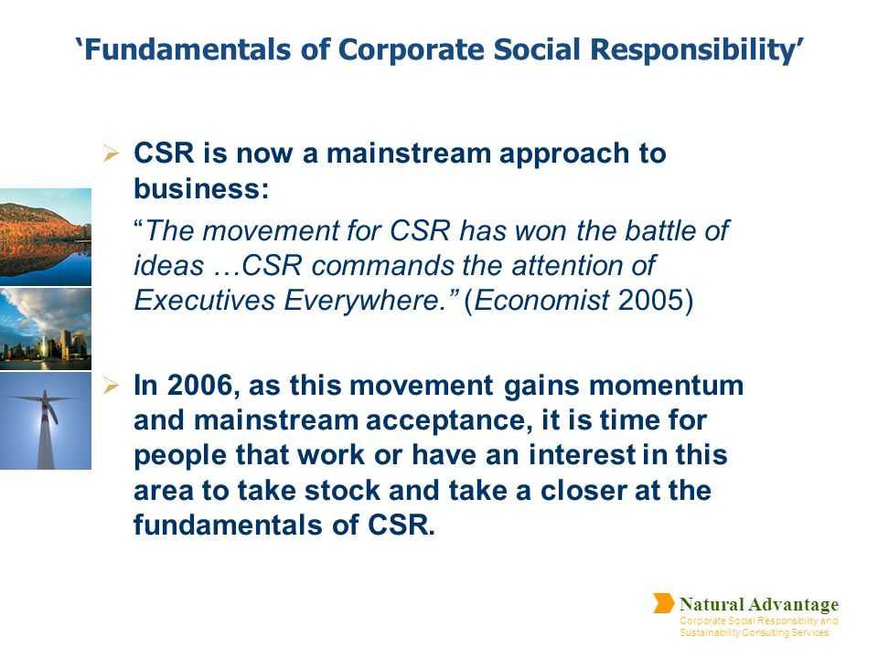'Fundamentals of Corporate Social Responsibility'