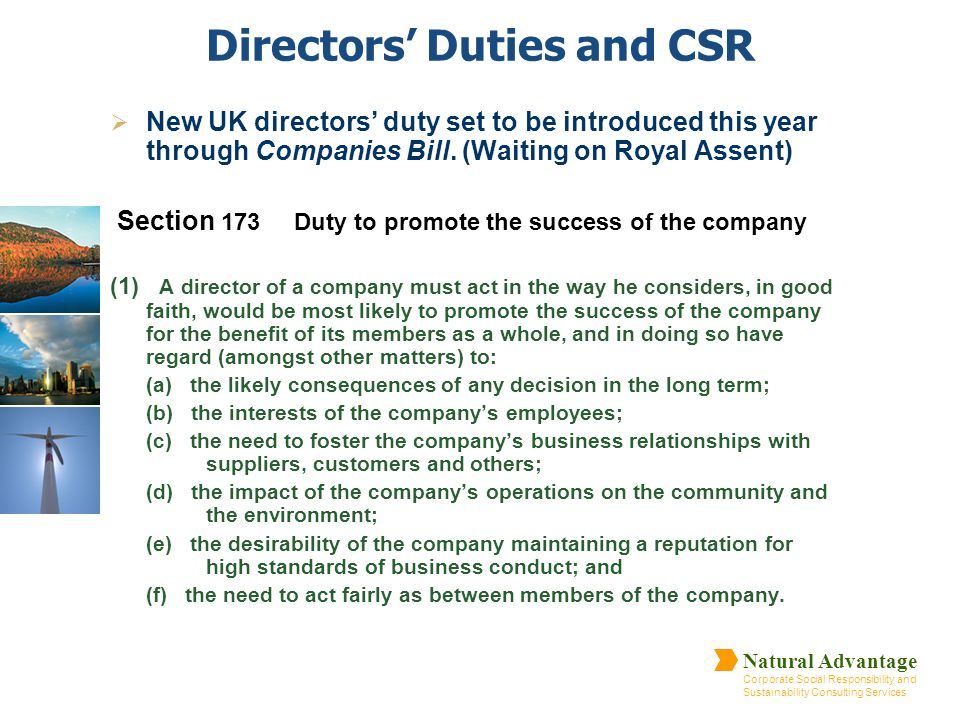 Directors' Duties and CSR